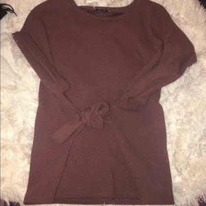 Express short sleeve tie waist top